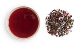 loose groupings and cups of Flavored Fruit Blend Tea
