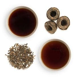 loose groupings and cups of Pu-erh Tea